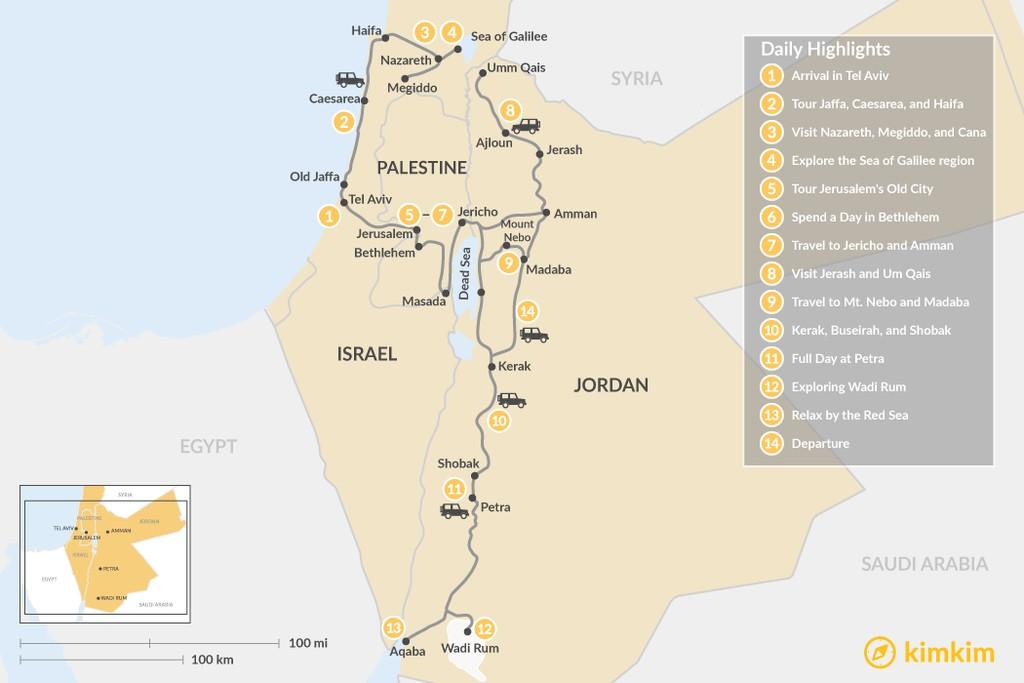 Map of Biblical Jordan and Israel: Tel Aviv,  Tiberias, Jerusalem, Amman & More - 14 Days
