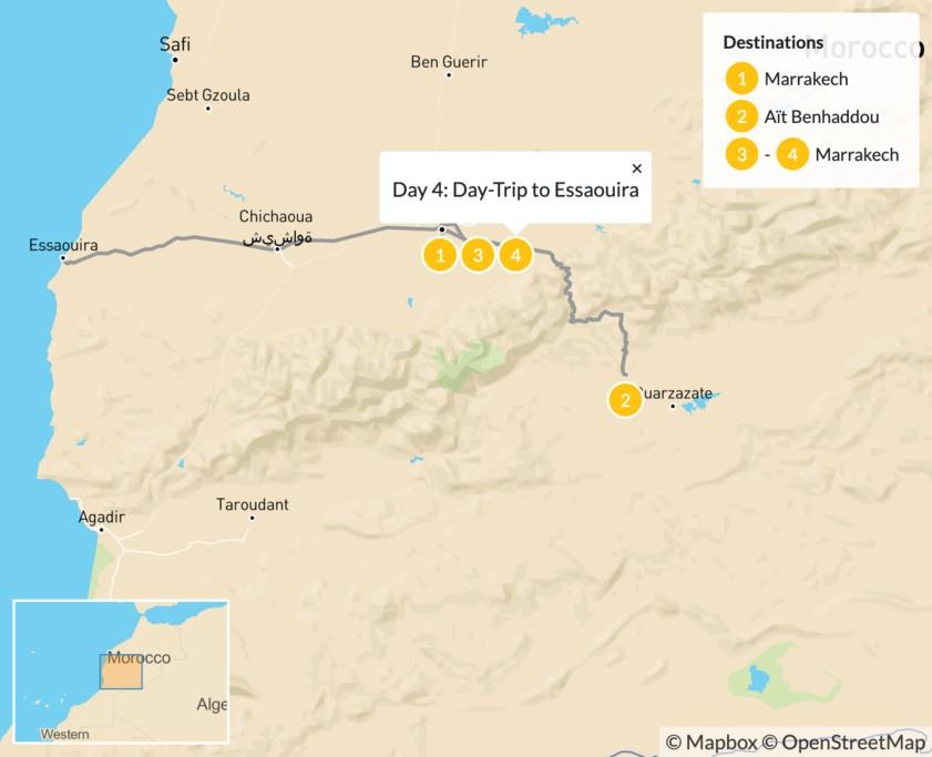 Map of A Taste of Morocco: Marrakech, Aït Benhaddou, & Essaouira - 5 Days