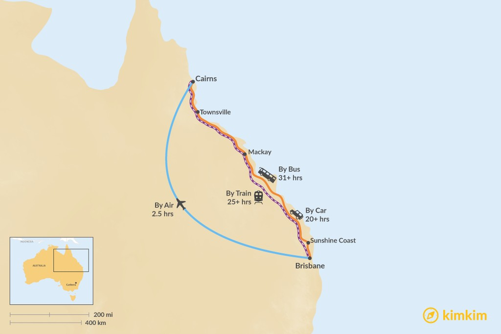 Map of How to Get from Brisbane to Cairns