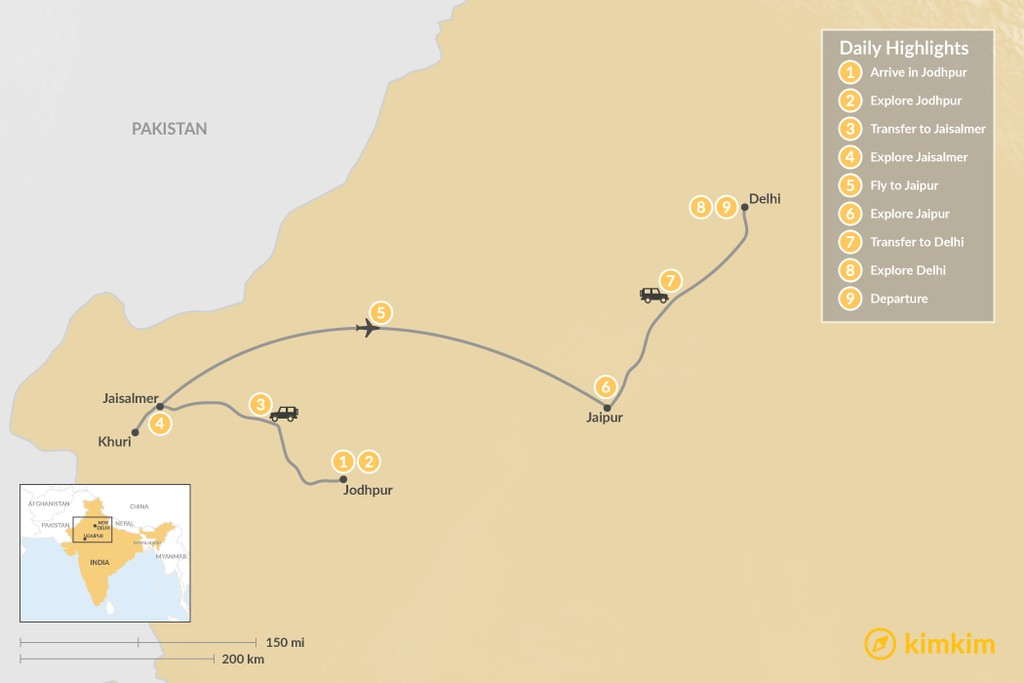 Map of Explore Rajasthan: Palaces, Forts, and Sand Dunes of Thar - 9 Days
