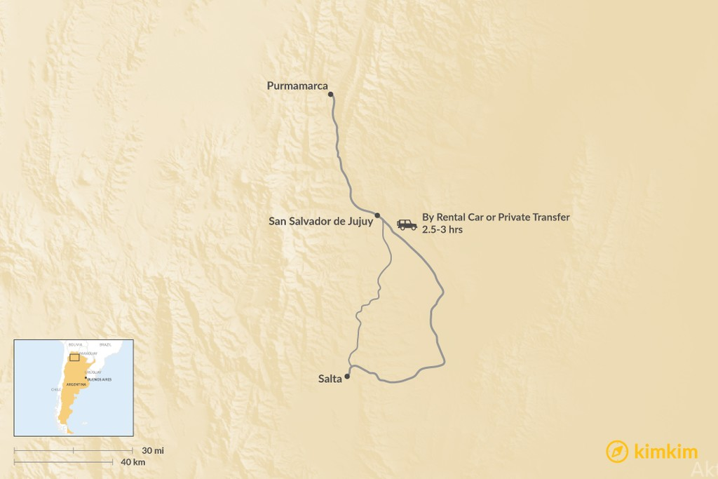 Map of How to Get from Purmamarca to Salta