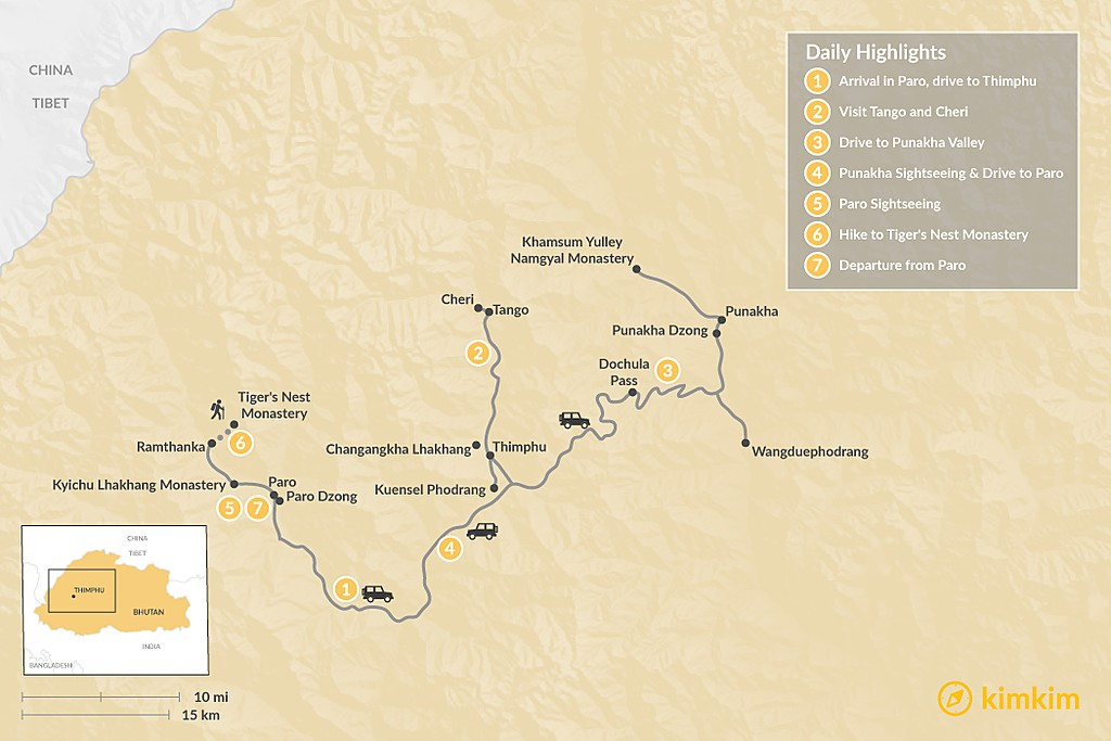 Map of Bhutan Highlights - 7 Days