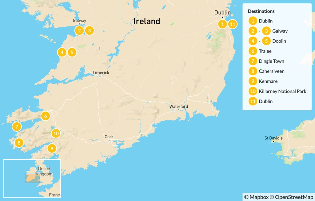 Map of Ireland Self-Guided Cycling Tour: Dublin, Galway, Doolin, Dingle Town - 12 Days