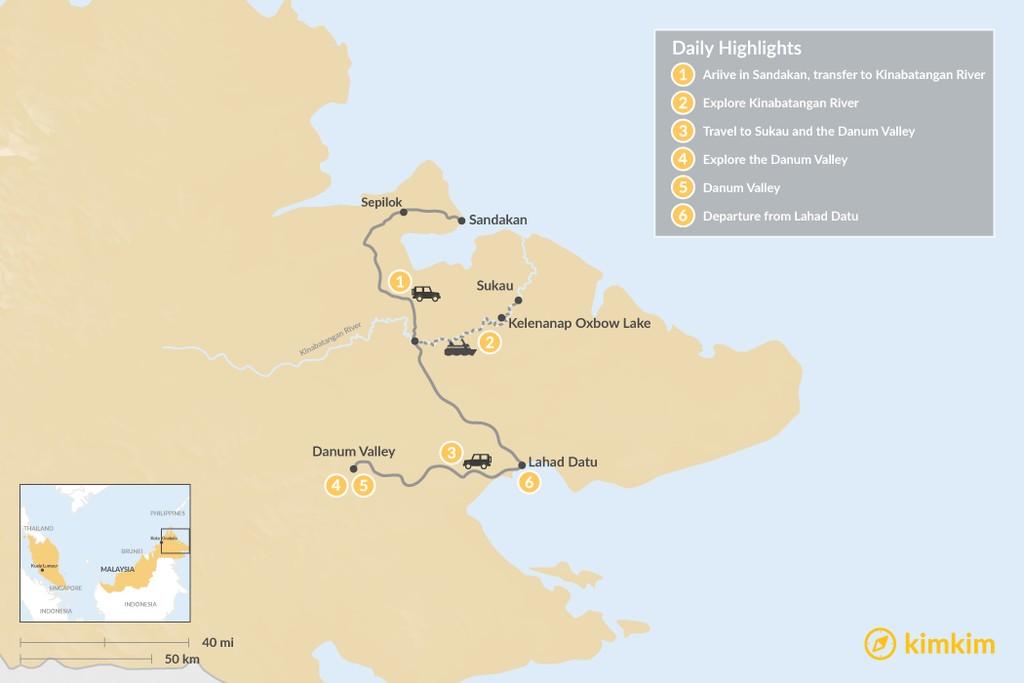 Map of Eastern Borneo Wildlife Tour - 6 Days