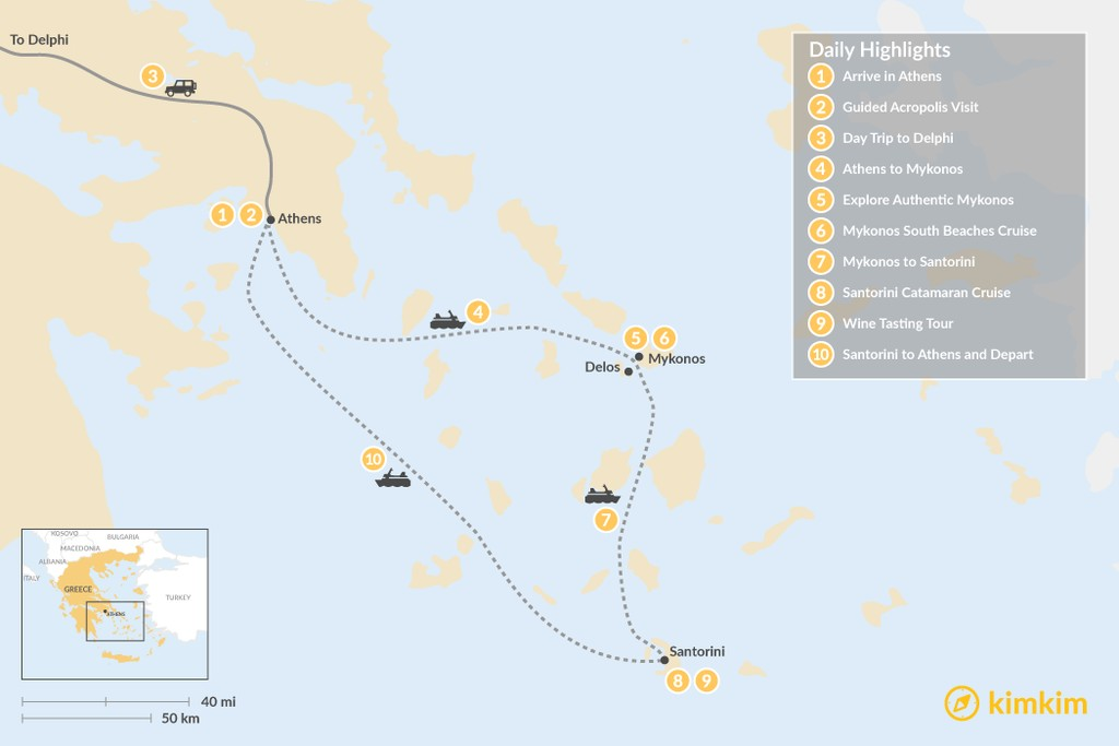 Map of Discover Athens, Delphi, & the Cyclades - 10 Days