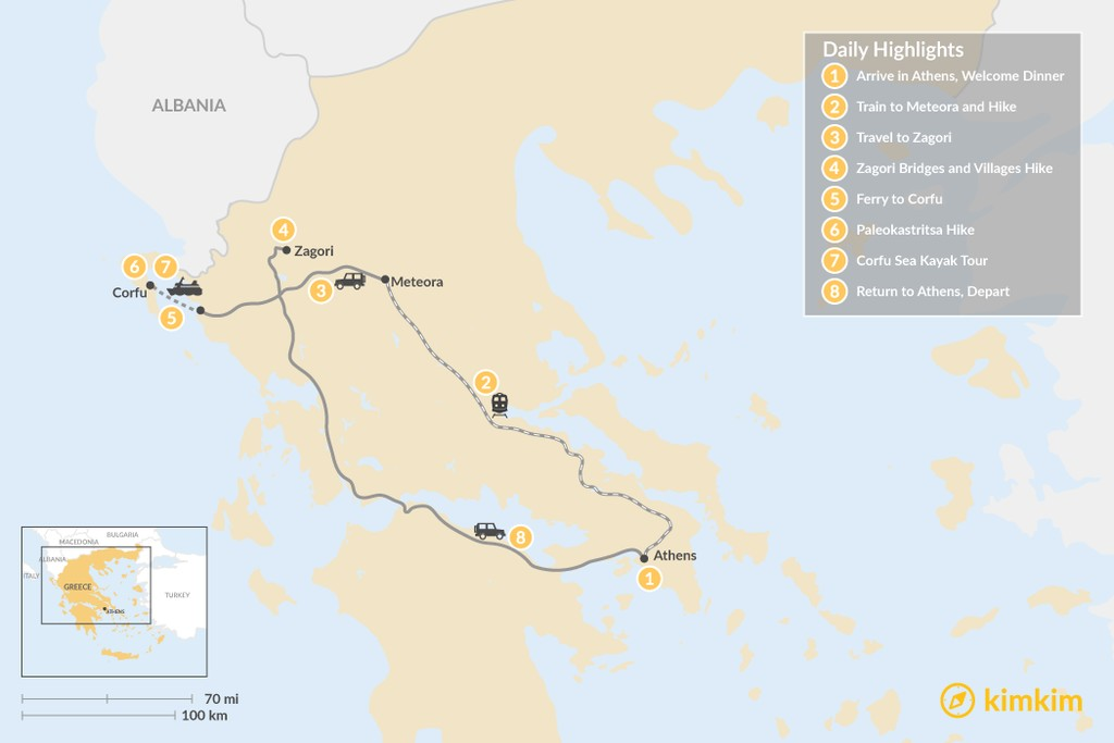 Map of Adventurous Athens, Central Greece, and Corfu - 8 Days