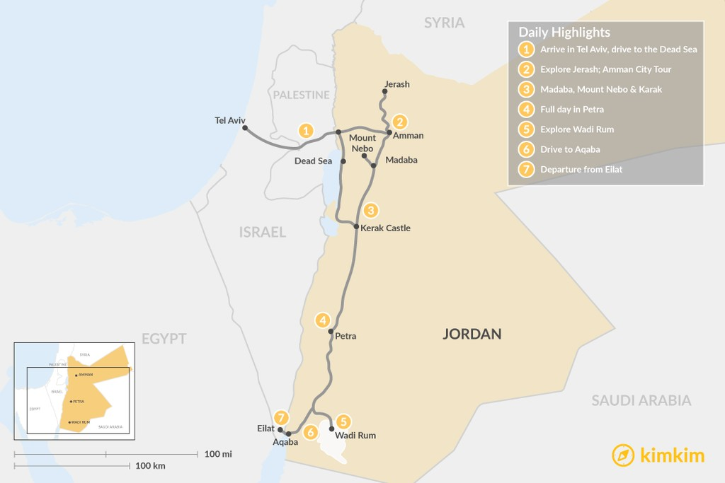 Map of Discover Jordan From Tel Aviv - 7 Days