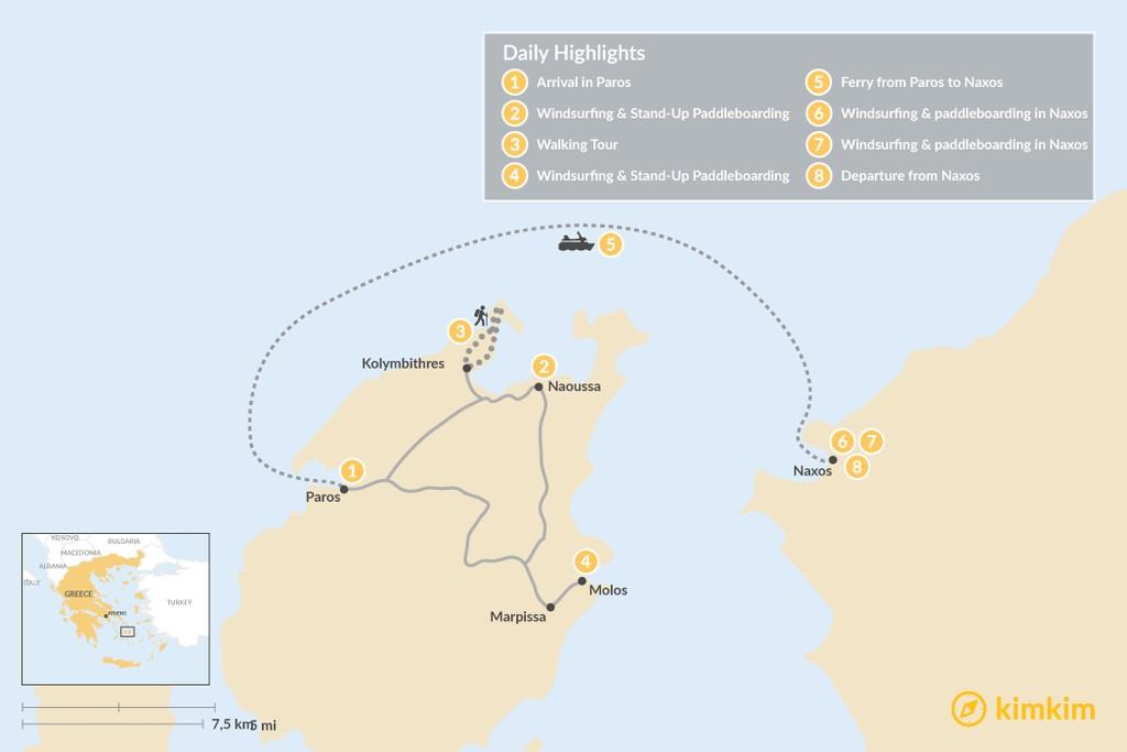 Map of Paros & Naxos Family Adventure - 8 Days