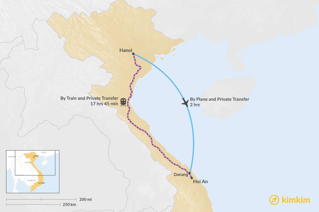 Map of How to Get from Hanoi to Hoi An