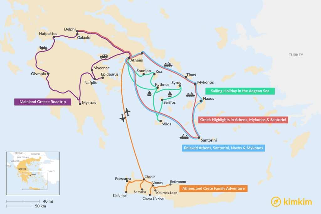 Map of 9 Days in Greece - 5 Unique Itinerary Ideas