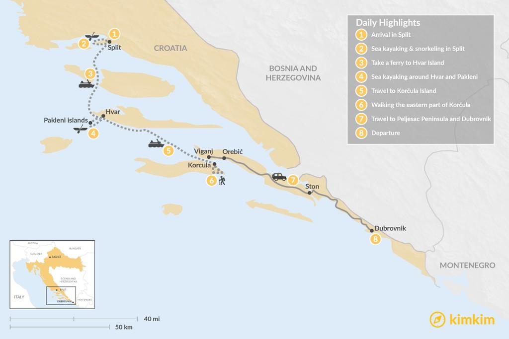 Map of Dalmatian Coast Adventure: Hike & Kayak - 8 Days