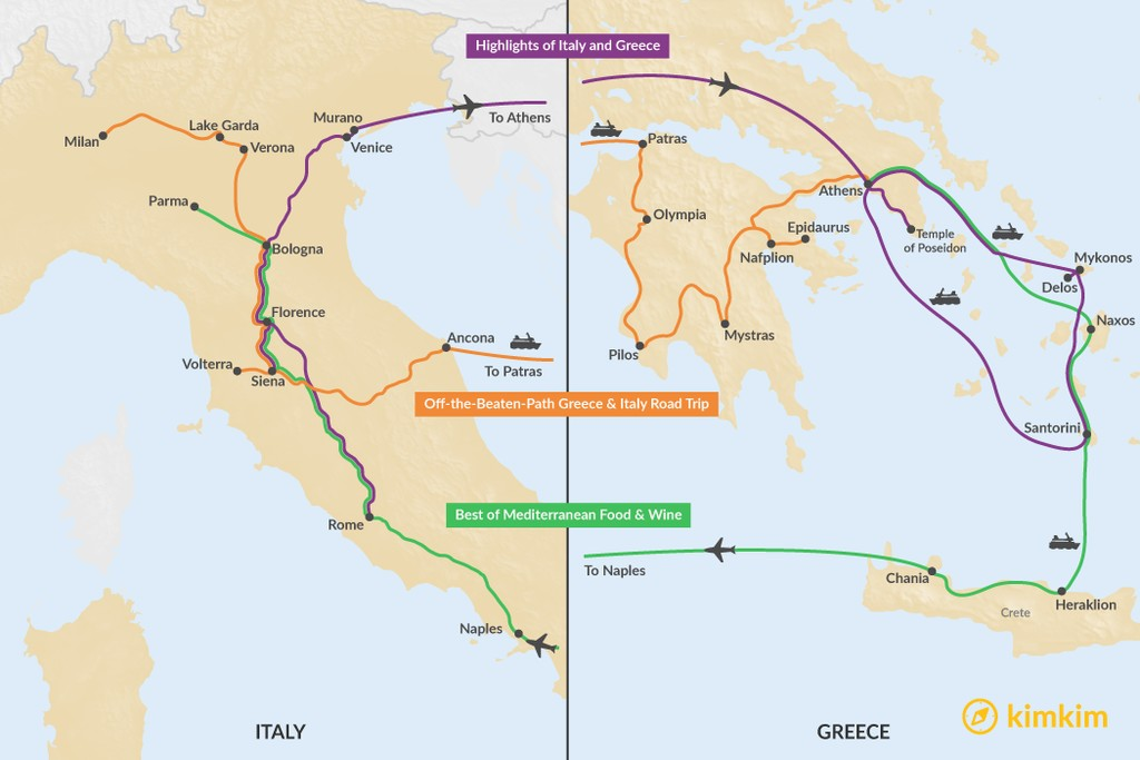 Map of 21 Days in Italy & Greece - 3 Unique Itineraries
