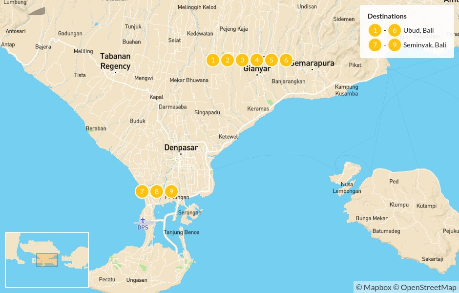 Map of Best of Bali: Ubud, Seminyak, & Nusa Lembongan - 10 Days