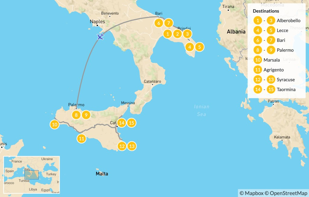 Map of Puglia & Sicily Highlights - 16 Days