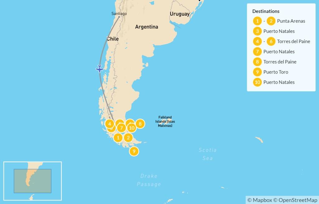 Map of Chilean Patagonia: Wildlife, W Trek, Ice Hiking, & Kayaking - 11 Days