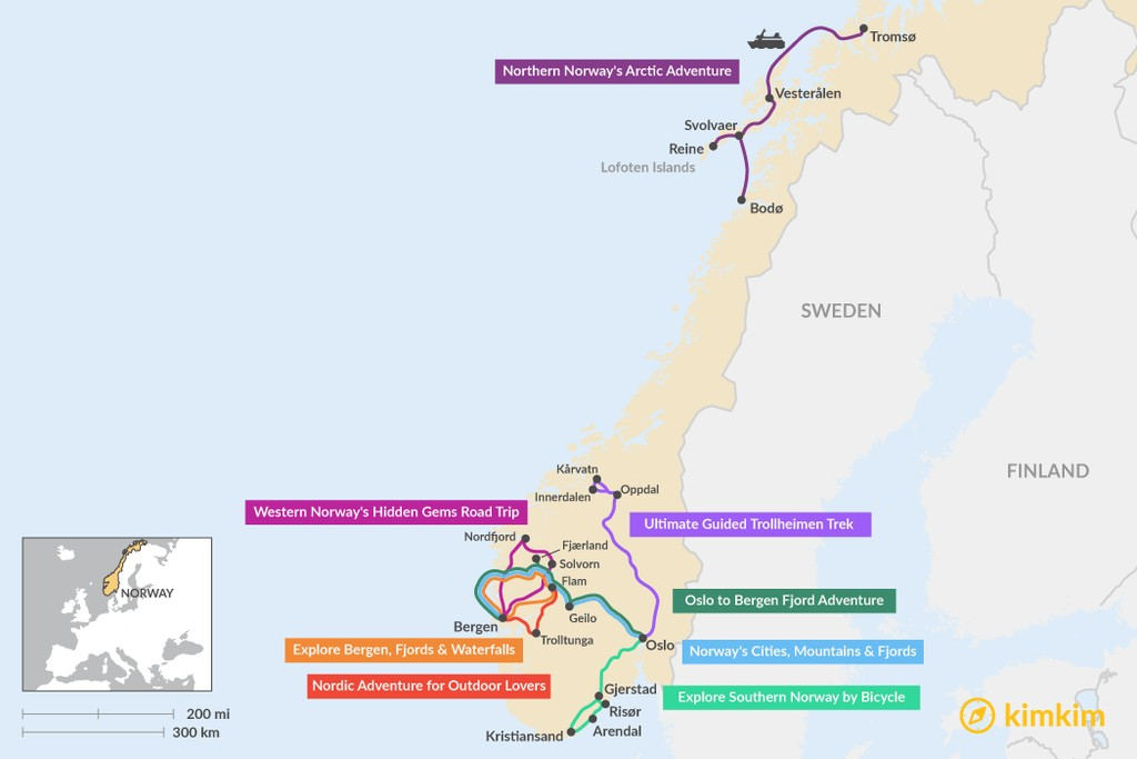 Map of 5 Days in Norway  - 8 Unique Itinerary Ideas