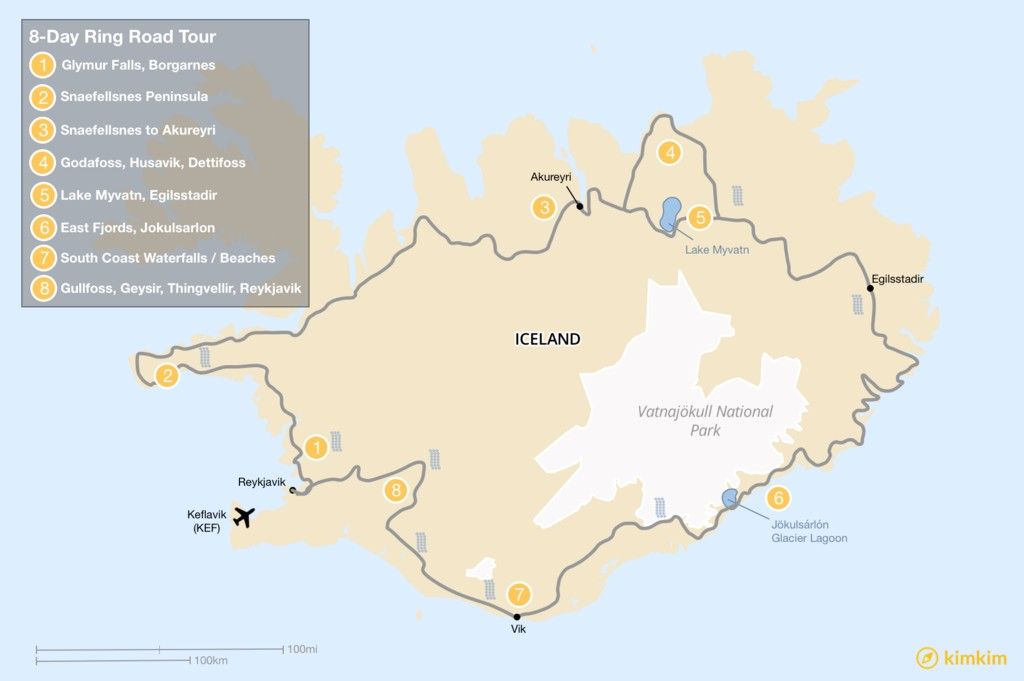 Map of 8-Day Ring Road Itinerary: Explore Iceland's Top Places Along Its Most Famous Road