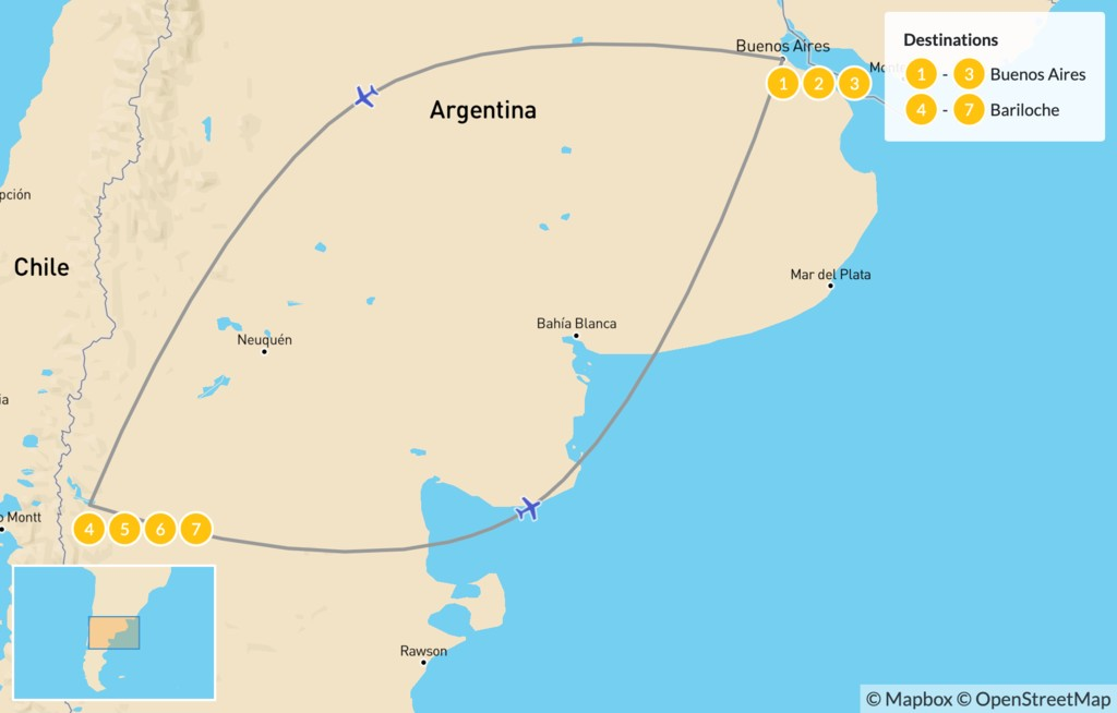 Map of Argentina Ski Adventure - 8 Days