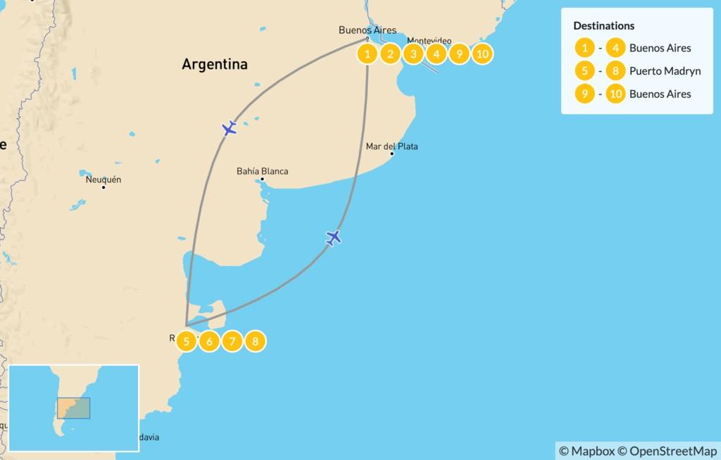 Map of Exploring Argentina's Cities & Nature - 11 Days