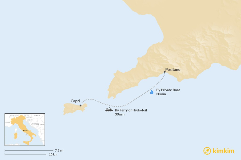 Map of How to Get from Capri to Positano