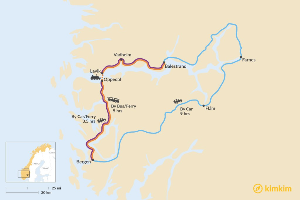 Map of How to Get from Bergen to Balestrand
