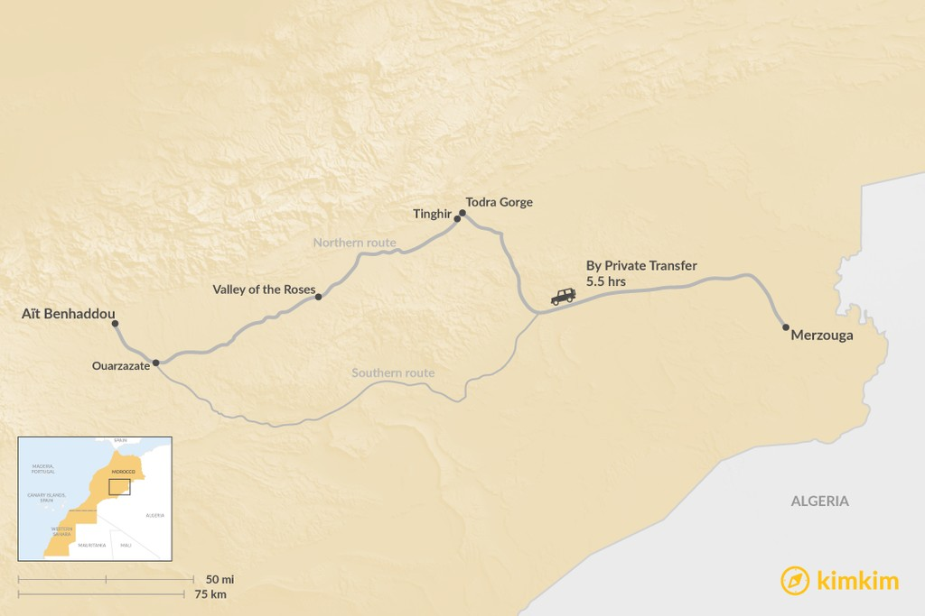 Map of How to Get from Merzouga to Aït Benhaddou