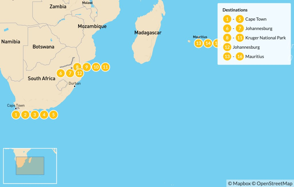 Map of Classic South Africa and Mauritius: Cape Town, Johannesburg, Kruger Safari, & More - 17 Days