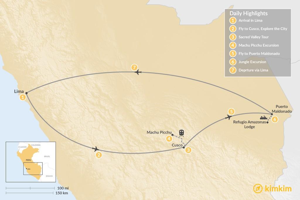 Map of Machu Picchu & Amazon Jungle - 7 Days