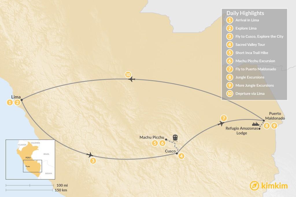 Map of Lima, Machu Picchu & Amazon Jungle - 10 Days