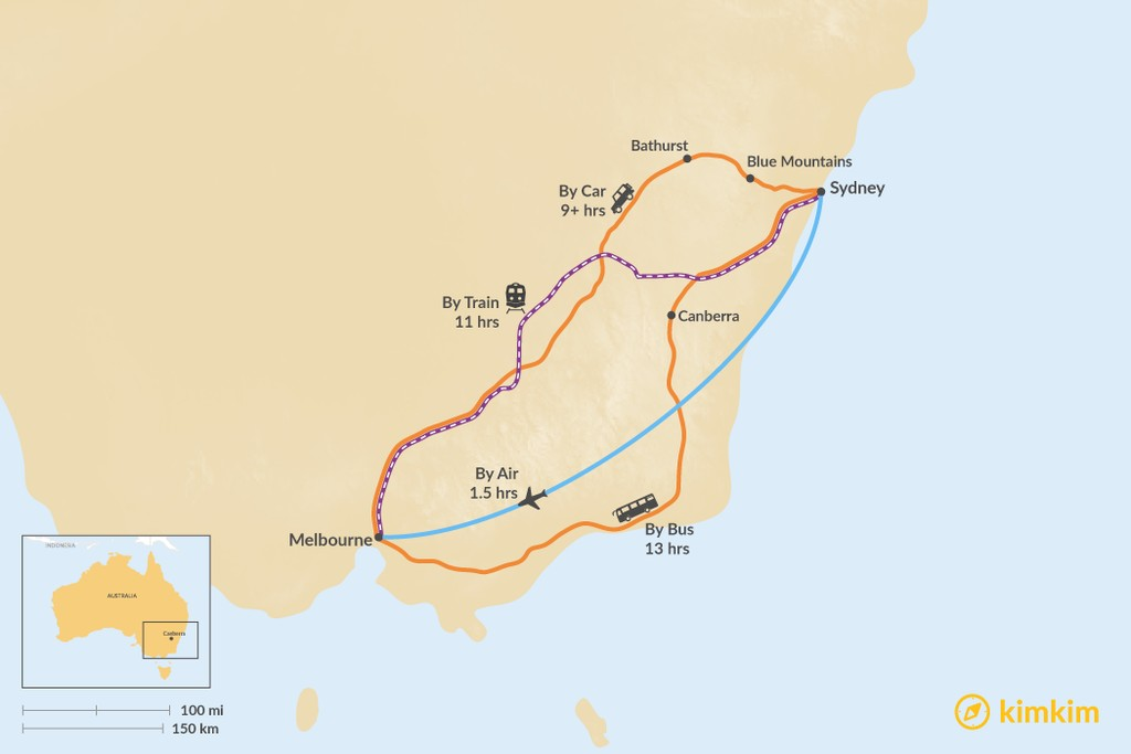 Map of How to Get from Sydney to Melbourne