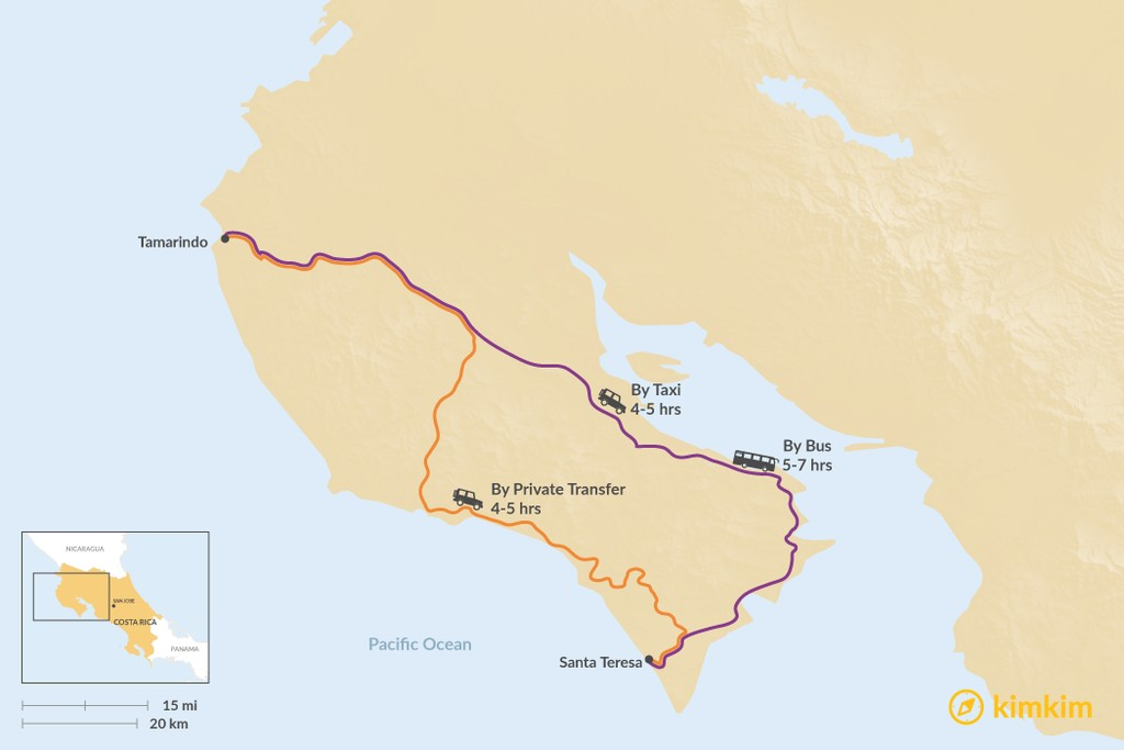 Map of How to Get from Tamarindo to Santa Teresa