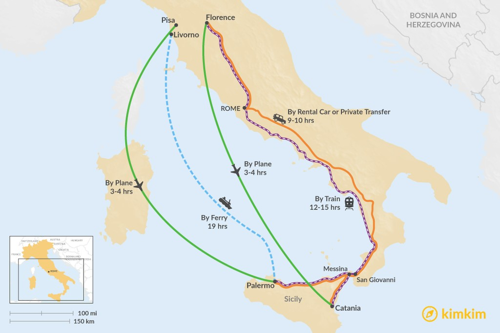 Map of How to Get from Tuscany to Sicily