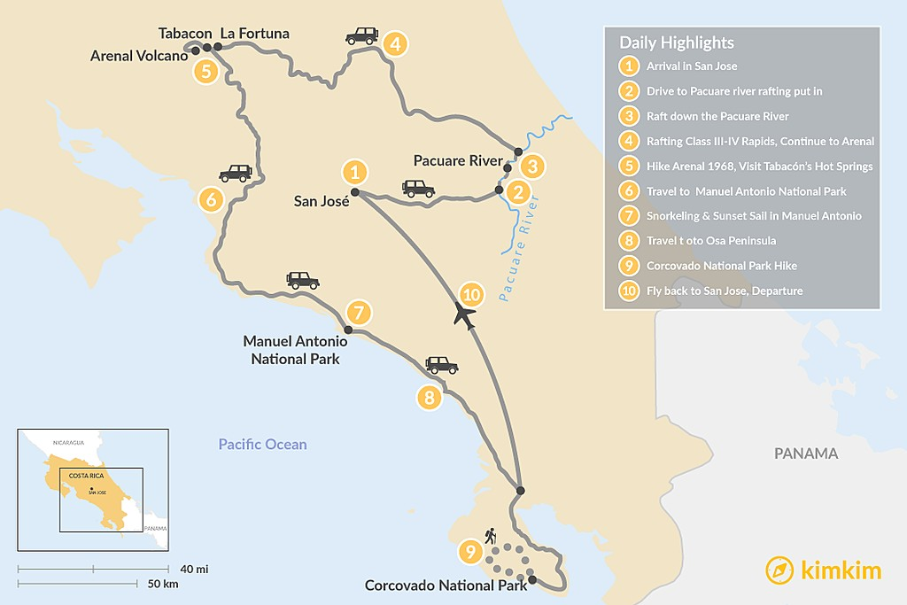 Map of Costa Rica Luxury & Nature Tour - 10 Days