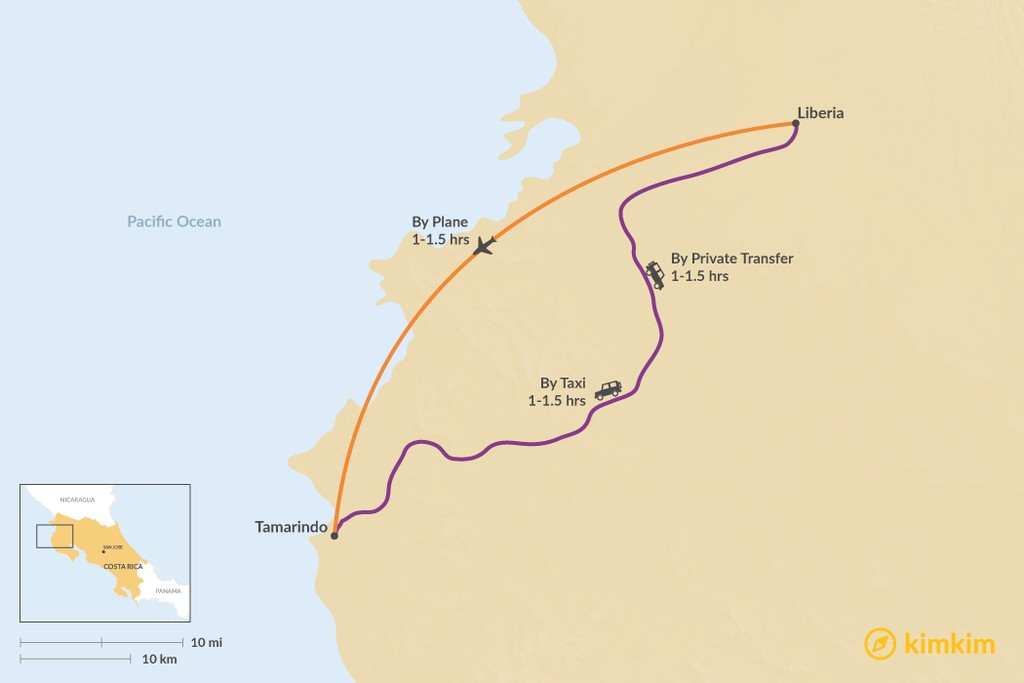 Map of How to Get from Liberia to Tamarindo