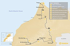 Map thumbnail of Tangier to Marrakech via the Desert - 8 Days