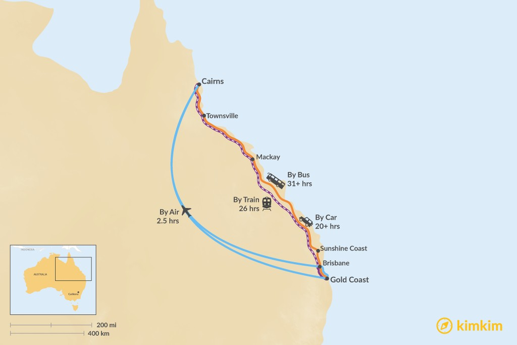 Map of How to Get from the Gold Coast to Cairns