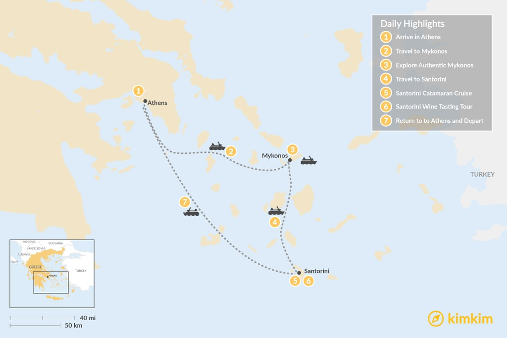 Map of Discover Athens & the Cyclades - 7 Days