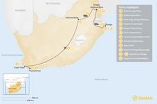 Map thumbnail of Explore South Africa: Cape Town, Winelands, Johannesburg, Safari, & Beach - 14 Days