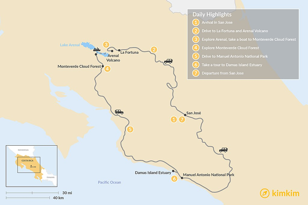 Map of Best of Costa Rica in 7 Days: Explore Jungles, Volcanoes and Beaches
