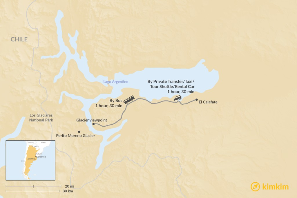 Map of How to Get from El Calafate to Los Glaciares National Park