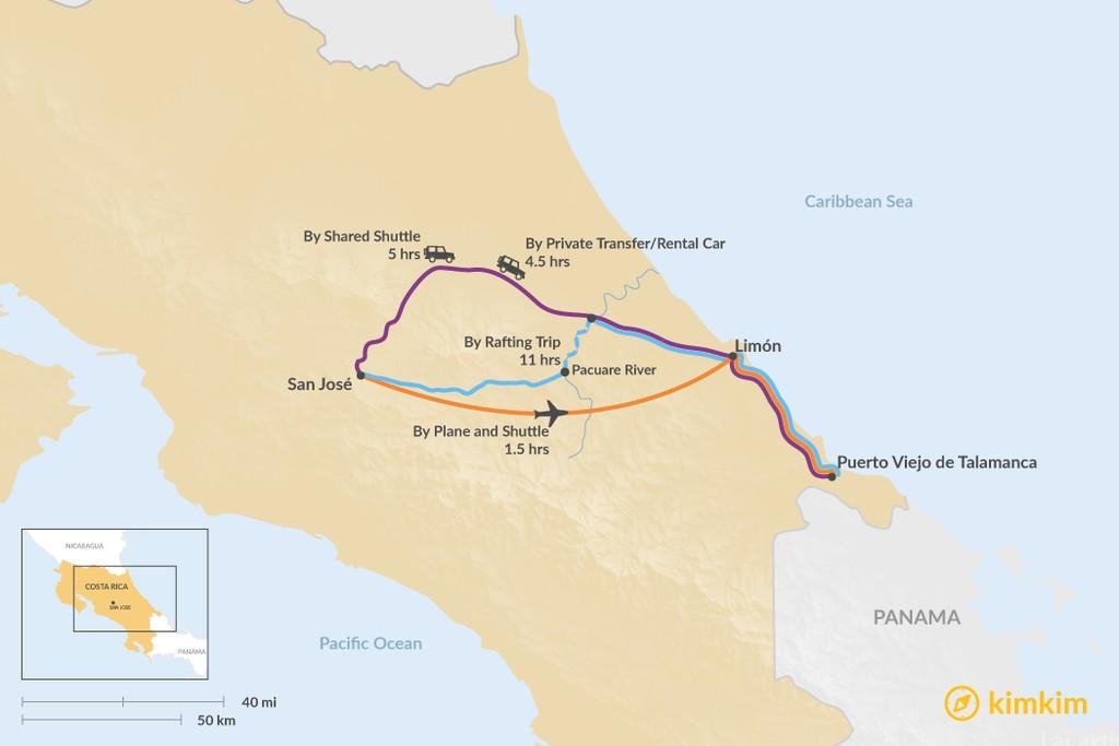 Map of How to Get from San José to Puerto Viejo de Talamanca