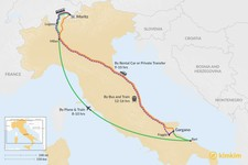 Map thumbnail of How to Get from Gargano National Park to St. Moritz