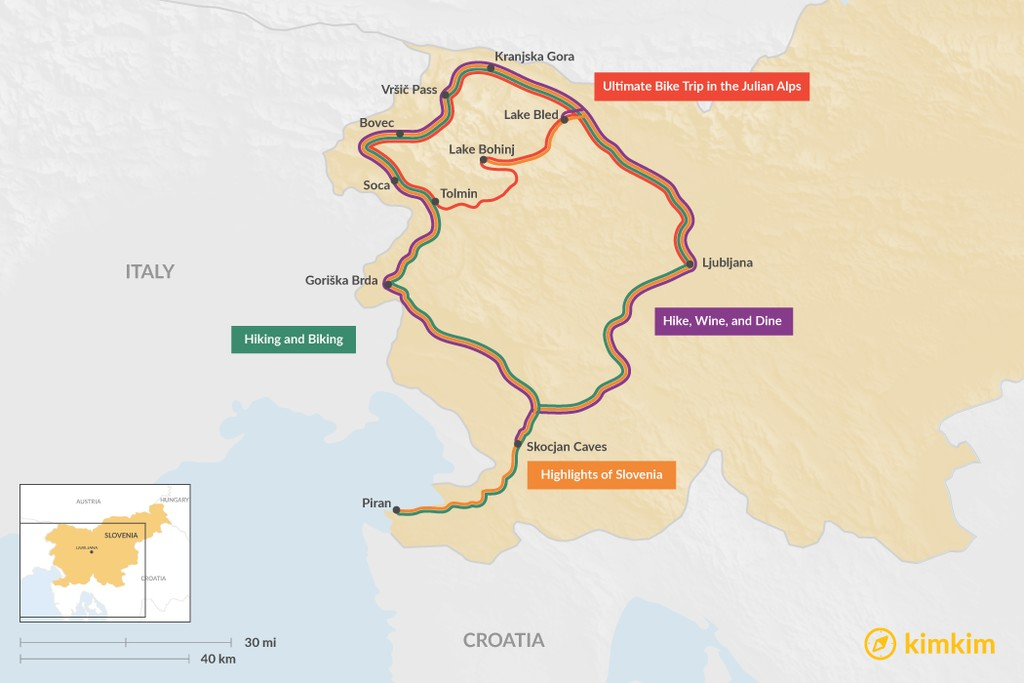 Map of 8 Days in Slovenia - 4 Unique Itinerary Ideas