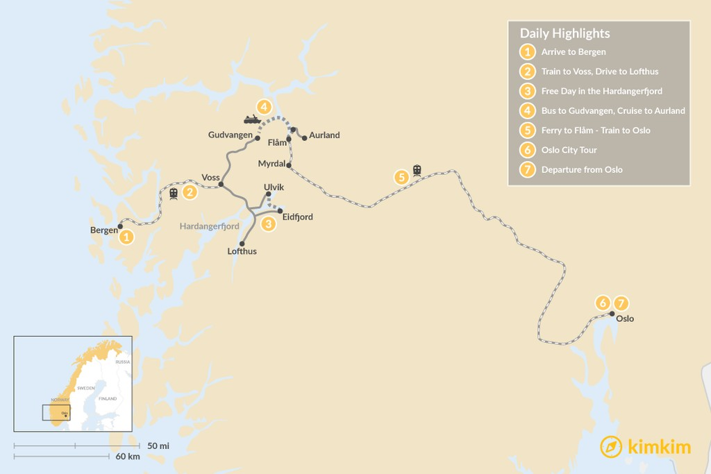 Map of Multi-Fjord Adventure in Norway - 7 Days