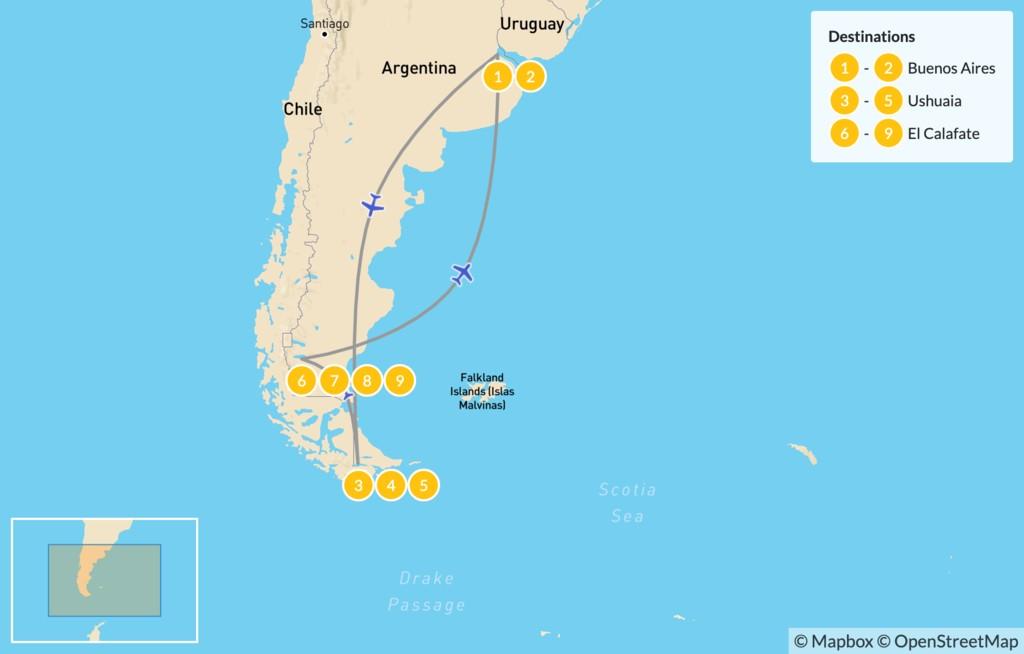 Map of Ushuaia & El Calafate Adventure - 10 Days