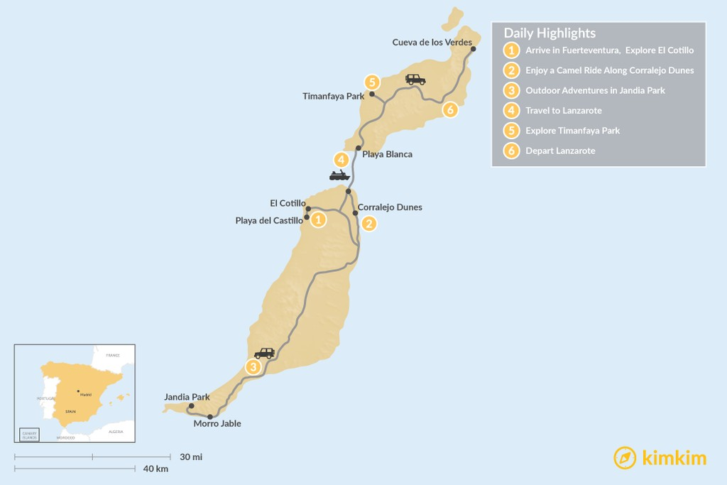 Map of Exploring the Canary Islands: Fuerteventura and Lanzarote - 6 Days