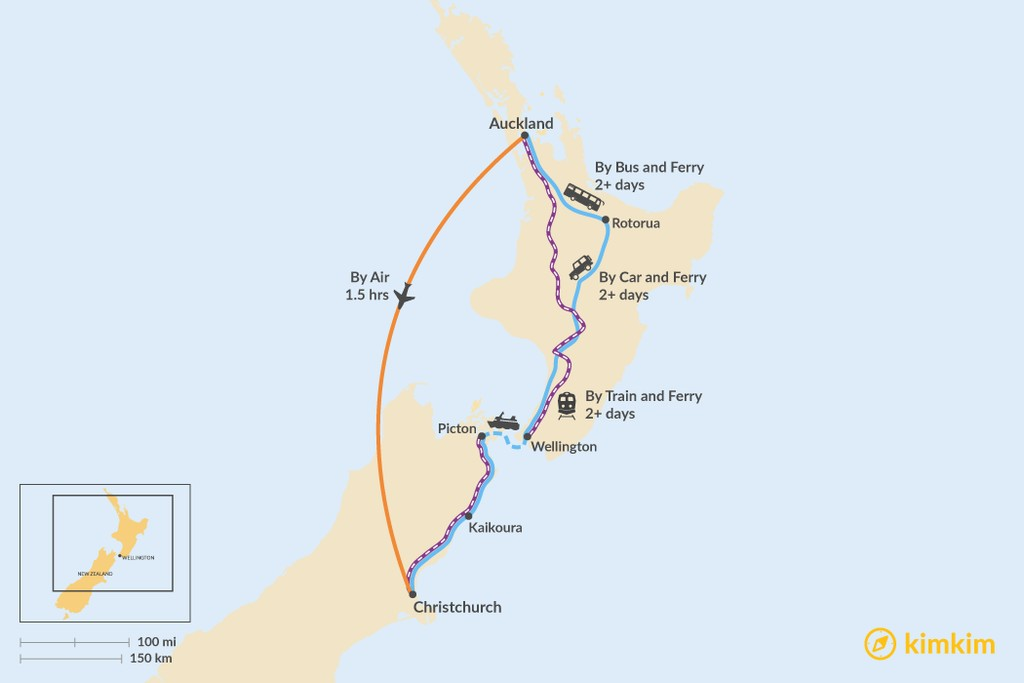 Map of How to Get from Auckland to Christchurch