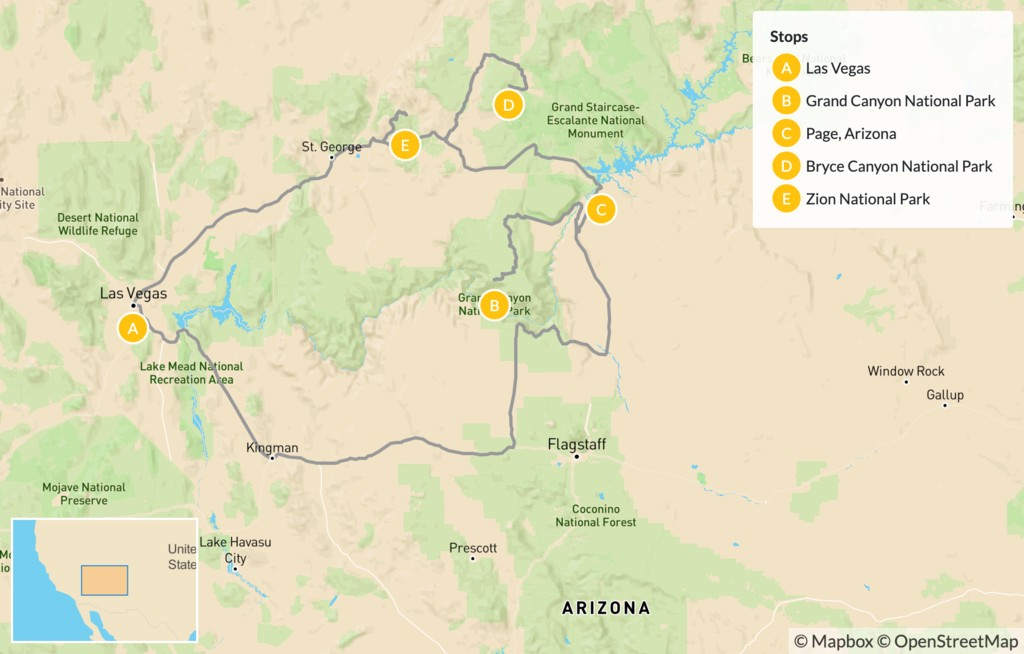 Map of American Southwest National Parks Road Trip - 8 Days