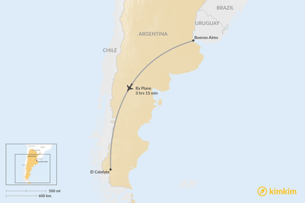 el calafate argentina map Buenos Aires To El Calafate Best Routes Travel Advice Kimkim el calafate argentina map
