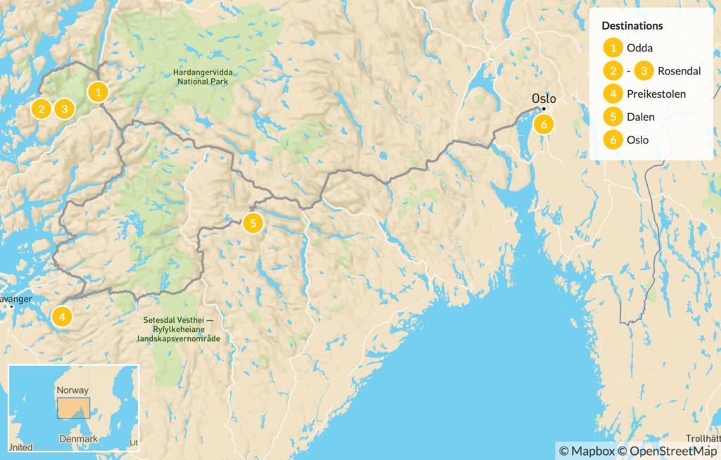 Map of Hike Norway's Glacial Landscape: Trolltunga, Preikestolen, Kjerag - 6 Days